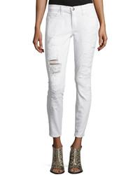 Current/Elliott Stiletto Distressed Skinny Pants Super Salt