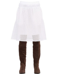 See by Chloe Cotton Blend Eyelet Skirt