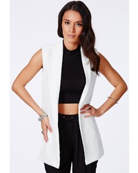 Missguided Tolipa Sleeveless Longline Blazer In White