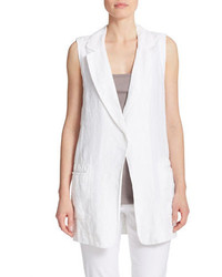 DKNY Pure Single Button Linen Vest