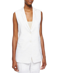 Helmut Lang Sleeveless Two Button Linen Blazer