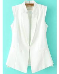 Stand Collar Sleeveless Slim White Blazer