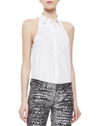 MCQ Alexander Ueen Sleeveless Halter Tux Shirt White
