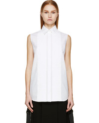 MCQ Alexander Ueen White Pleated Sleeveless Blouse