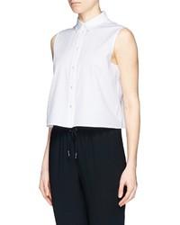 Alexander wang t by sleeveless cotton poplin shirt where for Sleeveless cotton button down shirts