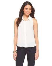 Ambar Sleeveless Button Up Blouse White