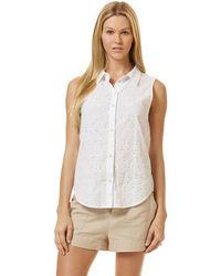 Women 39 s white sleeveless button down shirt white skater for Sleeveless cotton button down shirts