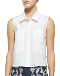 Elle Sasson Cisco Sleeveless Point Collar Blouse