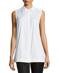 Lafayette 148 New York Courtie Boxy Sleeveless Blouse White