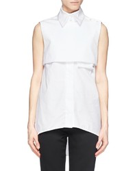 Ellery Danube Eyelet Weave Yoke Sleeveless Shirt