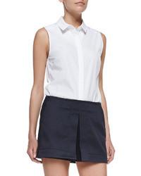 Victoria Beckham Denim Sleeveless 50s Shirt White
