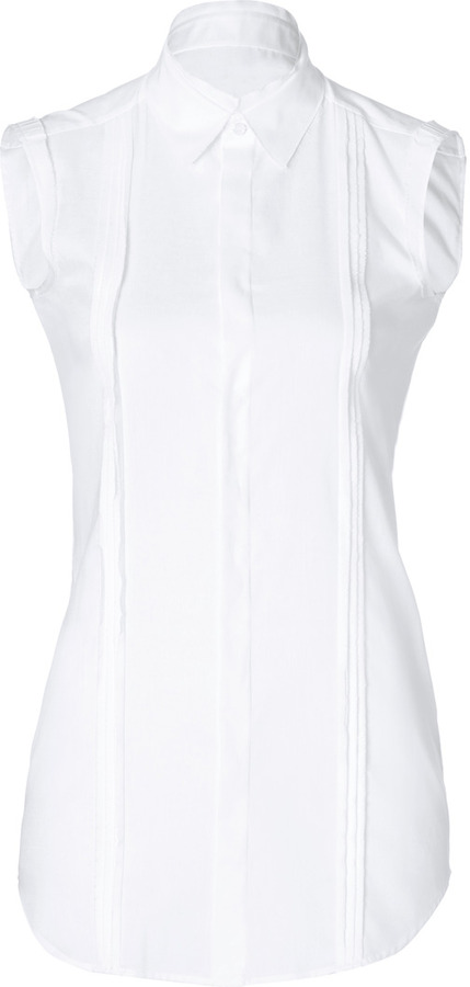 Dsquared 2 cotton sleeveless pleated front shirt where for Sleeveless cotton button down shirts