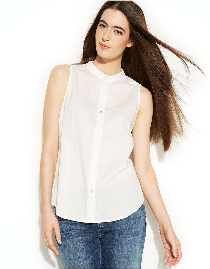 White Sleeveless Button Down Shirt Eileen Fisher