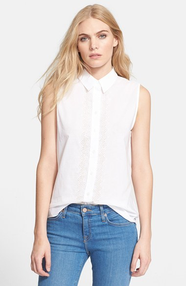 729a4a4e2d5 ... White Sleeveless Button Down Shirts Equipment Elisa Eyelet Detail Cotton  Lawn Blouse ...