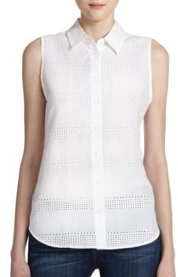 Equipment Colleen Eyelet Cotton Sleeveless Shirt | Where to buy ...