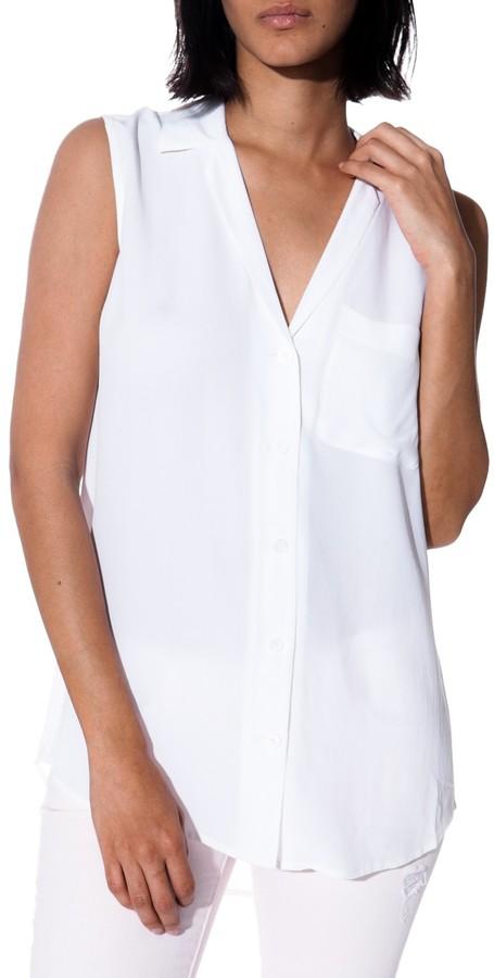 White Sleeveless Button Down Shirt Equipment Kiera