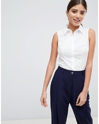 ASOS DESIGN Fuller Bust Sleeveless Shirt In Stretch Cotton