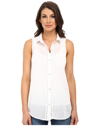 DKNY Jeans Cotton Gauze Sleeveless Boyfriend Shirt