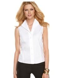Jones New York Petite Shirt Sleeveless Button Down Easy Care