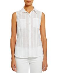 b2f0aeb73 Women's White Sleeveless Button Down Shirts by Jones New York ...