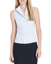 Women 39 s white sleeveless button down shirt white skater for Jones new york no iron easy care boyfriend shirt