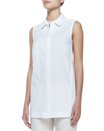 White sleeveless button down shirt lafayette 148 new york for Jones new york no iron easy care boyfriend shirt