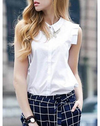 Lapel Sleeveless With Buttons White Blouse