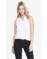 Express Linen Cotton Sleeveless Collared Shirt