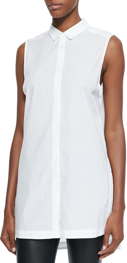 8c8c77694f587f ... Helmut Lang Long Sleeveless Cotton Blouse ...
