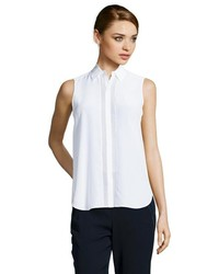 Vince Off White Silk Sleeveless Button Up Blouse