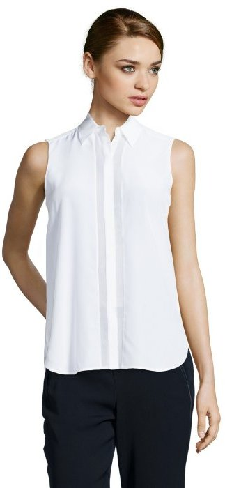 Vince Off White Silk Sleeveless Button Up Blouse | Where to buy ...