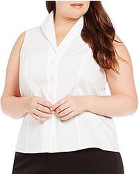 Calvin Klein Plus Button Down Sleeveless Woven Shirt