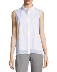 Elie Tahari Shelby Sleeveless Blouse W Mesh Insets