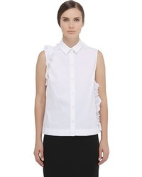 Simone rocha sleeveless ruffled cotton poplin shirt medium 351720