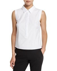 Sleeveless button front stretch poplin shirt white medium 814103