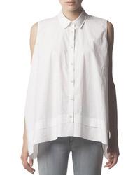 Acne Studios Sleeveless Collared Button Down Blouse White