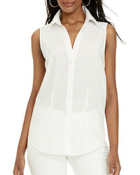 Lauren Ralph Lauren Sleeveless Cotton Button Down Shirt