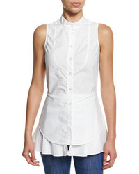Derek Lam 10 Crosby Sleeveless Cotton Button Front Shirt Soft White