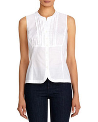 f43290211 Jones New York Sleeveless Cotton Fitted Shirt Out of stock · Jones New York  Sleeveless Cotton Shirt With Ruffled Front
