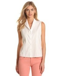 Women's White Sleeveless Button Down Shirts by Jones New York ...