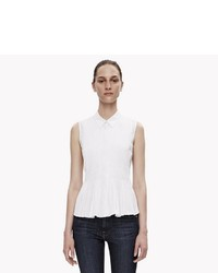 Theory Sleeveless Pleated Poplin Button Down Shirt