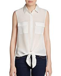 Saks Fifth Avenue BLACK Sleeveless Silk Tie Waist Blouse