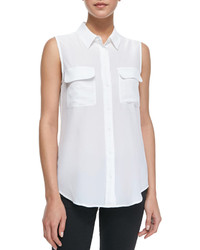 Slim signature sleeveless blouse bright white medium 167734