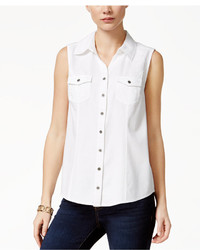 Style&co. Style Co Sleeveless Denim Shirt Only At Macys