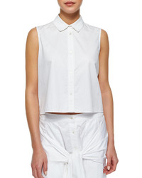 Alexander Wang T By Cropped Sleeveless Poplin Blouse