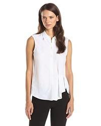 Theory Biaz Sleeveless Button Front Shirt
