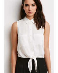 Forever 21 Tie Front Pocket Shirt