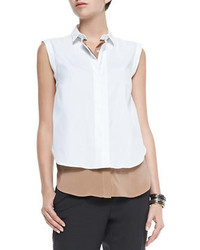 Brunello Cucinelli Two Tone Layered Sleeveless Blouse Biscottiwhite