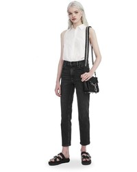 Alexander Wang Washed Cotton Poplin Sleeveless Bodysuit