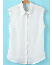 White Lapel Sleeveless Buttons Blouse